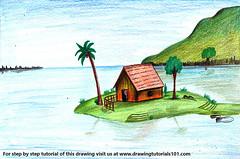 Island Scenery (drawingtutorials101.com) Tags: island scenery how draw scene color pencil drawing pencils drawings sketch coloring colors sketching speed