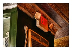 Exit Left (TooLoose-LeTrek) Tags: exit sign green red yellow door ceiling cafe hamtramck