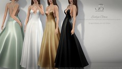 NEW! Evelyn Gown - at FaMESHed! (Just BECAUSE_SL) Tags: fameshed gown dress long formal wedding boobs cleavage bride bridesmaid classy elegant beads straps criss cross satin silk soft sexy cocktail prom
