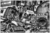 What a shambles!!  - B/W Version (photofitzp) Tags: railways vicberryscrapyardleicester vic scrapyards