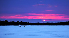 Sinking Sun (Bob's Digital Eye) Tags: canon canonefs55250mmf456isstm flicker flickr frozenlake ice icefishing march2018 silhouette sunset t3i winter wintercolour winterinmn wintersunset laquintaessenza