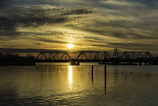 Sunset tonight silhouetting the Trestle crossing the Saginaw River