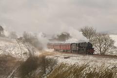 Rolling Back To Buxton (Derbyshire Harrier) Tags: 2018 buxton steamengine hindlowbranch peakdistrict peakpark wcrc rtc march thehighpeakexplorer 45407 railtour snow winter lmsjubileeclass6p460no45690leanderandlmsclass5mt460no45407as45157 1z60 black5 railway