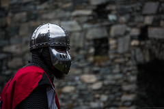 Jacques de Guerande (Coed Celyn Photography) Tags: medieval reenactment harlech snowdonia north wales knight knights castle castell cadw history historic historical living larp battle armour armor fighting fight weapon weaponry weapons costume clothing outfit sir chainmail sword swords shield glave helmet