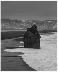 The sea stack of Vik (TheAstroRV) Tags: strom wind rough seas waves black white photography sea stacks iceland vik beach sands