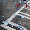 quenched (Jim_ATL) Tags: blue water cups red sneakers runner race crosswalk atlanta