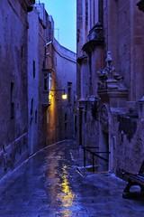 Malta Streets (Douguerreotype) Tags: street city buildings malta architecture dark lights night rain blue reflection