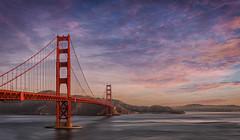 Early morning walk (RigieNL) Tags: hdr sony sonya6000 sunset sky bridge goldengate goldengatebridge purple pink clouds sanfrancisco californie california usa america amerika earlymorning sundown insta instagram beautifull