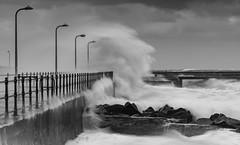 Lights - Camera - Action (ianbrodie1) Tags: amble pier lights railings water waves wave big sea seas seascape blackwhite mono rocks power nature stormyskies storm cloudsstormssunsetssunrises northumberland lee filters
