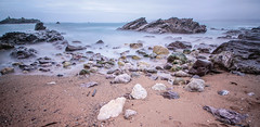 Me, I'm waiting so patiently, Lying on the floor (NikNak Allen) Tags: plymouth devon heybrookbay bay coast beach sand stone stones rock rocks jagged smooth sea water ocean horizon sky seascape low early morning longexposure exposure nd pov wide light boat ship
