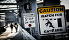 Caution! (Rabican7) Tags: newengland newhampshire maine bridge funny sign stop streetphotography bokeh pedestrian caution lines photography