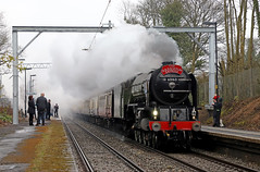 60163 Tornado - Barnt Green (Andrew Edkins) Tags: 60163 tornado a1class peppercorn barntgreen railwayphotography railwaystation platform geotagged people sulisandsarum pacific 462 rain cold spring canon travel trip uksteam trees march 2018 excursion worcestershire england lner railtour headboard railway railroad