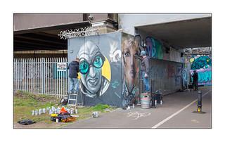 Street Art (Woskerski, Olivier Roubieu, SourEye), East London, England.