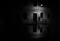 night reflections (ChrisRSouthland) Tags: night nightphotography nightlights venice reflections water canal leicammonochrom mm elmarit28mmf28 blackwhite blackandwhite monochrome bw streetlight