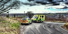 Head to head.. (Mike-Lee) Tags: mercedessprinter ambulance yas skoda skodascout4x4 merc sheffield march2018 skodascout rrv car jawbonehill birleystone yorkshire views hills