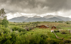 weathered ranch (andy_8357) Tags: sony a6000 6000 ilcenex ilce6000 mirrorless selp1650 e pz 1650mm oss cattle clouds dramatic farm colorado chaffee county collegiate range mountains route 50 285 weathered ranch trees bushes shrubs mist hills rolling drama ominous nestled cows emount