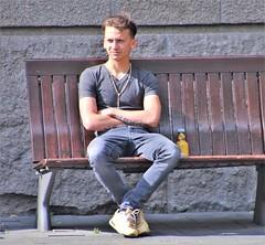 IMG_2189 (Skinny Guy Lover) Tags: outdoor guy man male dude slender jeans greyjeans grayjeans people sitting sit seated bel nikes nikeairmax airmax90 muscular portrait