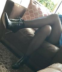 MyLeggyLady (MyLeggyLady) Tags: upskirt hotwife sexy milf teasing secretary thighs holdups stockings crossed minidress boots stiletto heels legs