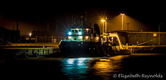 Day 73. (lizzieisdizzy) Tags: outside outdoors reflections reflection reflective reflect river yare greatyarmouth boat ship howiemarsh nightsky lampposts lights harbour headings mooring buffers tyres lamps starbursts water ropes bridge hull