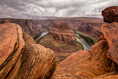 Cloudy Horseshoe Bend..... (Kevin Povenz) Tags: 2015 may kevinpovenz arizona page southwest horseshoecanyon canyon landscape outside outdoors sky clouds cloudy river rock rain rainy usa deep dropoff nature scenic canon60d sigma 1020