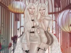 Year of the Fox (Teuila Porcelain (Taking/Needing Clients :P)) Tags: chinese newyear chinesenewyear kitsune fox albino whitefox whitekitsune porcelain starvelt teuila garden lights flowers lanterns chineselanterns