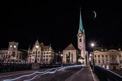 Moonlight over Zurich (mscgerber) Tags: zurich switzerland schweiz europe street streets streetphotography city cityphotography cityscape night nights nightphotography nightsky moon stars light dark mood longexposure nikon nikonphotography nikond3400