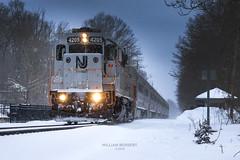 NJT train #1091 @ Mountain Lakes (bozartproductions) Tags: snow mountain lakes new jersey transit trains railroad diesel engine 4205 boonton line montvlair montclair