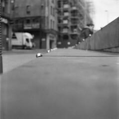 Not here (Gabo Barreto) Tags: leeds yorkshire england uk ball antiskate steps film 120 6x6 fomapan100 fomafilm tlr twinlensreflex yashicamat124g yashicamat selfdeveloped blackandwhite monochrome aristaedu square filmisnotdead