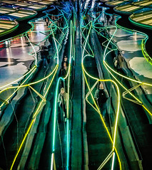 Horizon Accelerant (Paco_X) Tags: ohareairport chicago reflection tunnel unitedterminal movingwalkway travelers neon abstract
