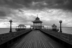 The Pier (shotbywiles) Tags: fujifilm fujifilmx xf18mm xpro2 shotbywiles street streetphotography streetphotographer travelphotography travel clevedon somerset pier victorian architecture moody clouds black white bw seaside britishseaside beachfront bristol westonsupermare