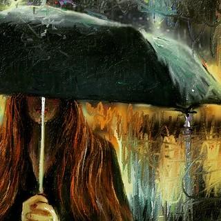 Sentimental Rain  以前のお絵描き作品 Painting Art  今日の一文! 親のいない子は、雨に打たれても傘をさして貰えず、強い風吹いてもカミナリ打たれてもかばって貰えず、一人で大人になります。