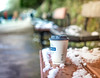 Iced Coffee (DobingDesign) Tags: kingstonuponthames surbiton surrey riverside snow bench streetfurniture riverthames bokeh whitestuff cold icey ice coffeecup wood texture snowy text chilly moist crystals macro depthoffield