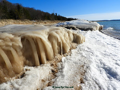 Bear Claw Ice (JamesEyeViewPhotography) Tags: lake michigan water waves sky clouds beach northernmichigan landscape lakemichigan winter march nature snow sand ice trees sleepingbeardunesnationallakeshore jameseyeviewphotography