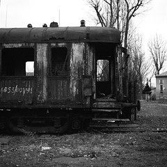 Abandoned train (enzolucia) Tags: krakow poland hasselblad kodak trix film