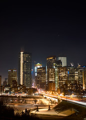 Calgary at Night (dhugal watson) Tags: calgary canada alberta night centre street lights bow tower fuji x100f
