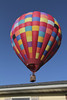 close encounter (Mike and Dee Brown) Tags: hotairballoon hot air balloon ride colors patches yard morning blue skies landed house trees