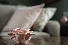 in the pink (s@ssyl@ssy) Tags: candleholder tealight pinkrose pottery livingroom home newcandle newcouches tabletop