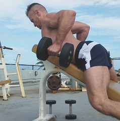 incline dumbbell rows (ddman_70) Tags: shirtless gym outdoor muscle shortshorts back dumbbell rows