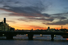 View from London Bridge (Gary Kinsman) Tags: canonrebelxt canon350d canon1855mm 2007 londonbridge bankside se1 cityoflondon london urban urbanlandscape topographics newtopographics architecture dusk evening sunset river thames skyline cityscape bttower bttelecomtower centrepoint tatemodern cranes