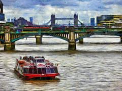 City Cruises (Steve Taylor (Photography)) Tags: citycruises towerbridge cannonstreet bridge art digital architecture river people uk gb england greatbritain unitedkingdom london texture boat vehicle truck van thames vauxhall