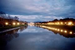 Riflessi in Arno (michele.palombi) Tags: arno river florence tuscany analogic film 35mm kodak portra800 sunset