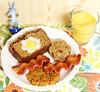 Egg-in-a-hole Breakfast Plate (Dessert) (hongzhizhu) Tags: aprilfool aprilfools easter egginahole bacon cookies agaragarjelly cinnamonquickbread lemoncurd dessert sweets beverage turmeric cocada easterbunny bunnymund