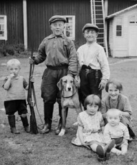 Out for hunting (theirhistory) Tags: children kids boys girls hat gun dog shirt dress trousers shoes wellies rubberboots