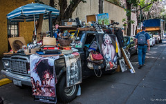 2018 - Mexico City - Calle Xicoténcatl, Coyoacan (Ted's photos - For Me & You) Tags: 2018 cdmx coyoacan cropped mexico mexicocity nikon nikond750 nikonfx tedmcgrath tedsphotos tedsphotosmexico vignetting streetscene street backpack denim denimjeans umbrella vehicle junk posters handbag people peopleandpaths