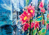 Trash Flowers (Margeaux Nicholas) Tags: abstract art blue childlike children city color colour dumpster flowers impressionism paint painting playful red texture urban yellow