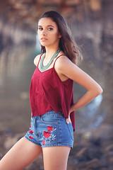 Emma - Magnetic Island (Rob Harris Photography) Tags: fashion beautiful beauty babe beach colour chic cute girl gorgeous female feminine figure model modelling naturallight naturalbeauty woman magneticisland bohemian boho red denim pier