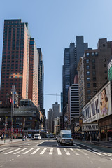 New York (Oleg.A) Tags: shadow sunny newyork manhattan street people broadway city cityscape aqua materials town summer colorful blue midday brick car megalopolis design square usa style architecture outdoor nyc america noon outdoors