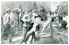 Cop uses nightstick as a bat against students' heads: 1974 (Washington Area Spark) Tags: university maryland students drug arrests marijuana pot smoke undercover police agents informer protest demonstration clash campus march legalization 1974 narcs narks