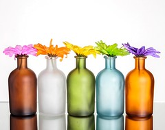 Colourful Flowers & Bottles (Karen_Chappell) Tags: flowers floral white pastel vase bottle five 5 stilllife brown blue green pink orange yellow purple multicoloured colourful colours colour glass product color