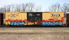 Acerp/Skela10 (quiet-silence) Tags: graffiti graff freight fr8 train railroad railcar art acerp skela skela10 e2e endtoend ttx tbox boxcar tbox661031